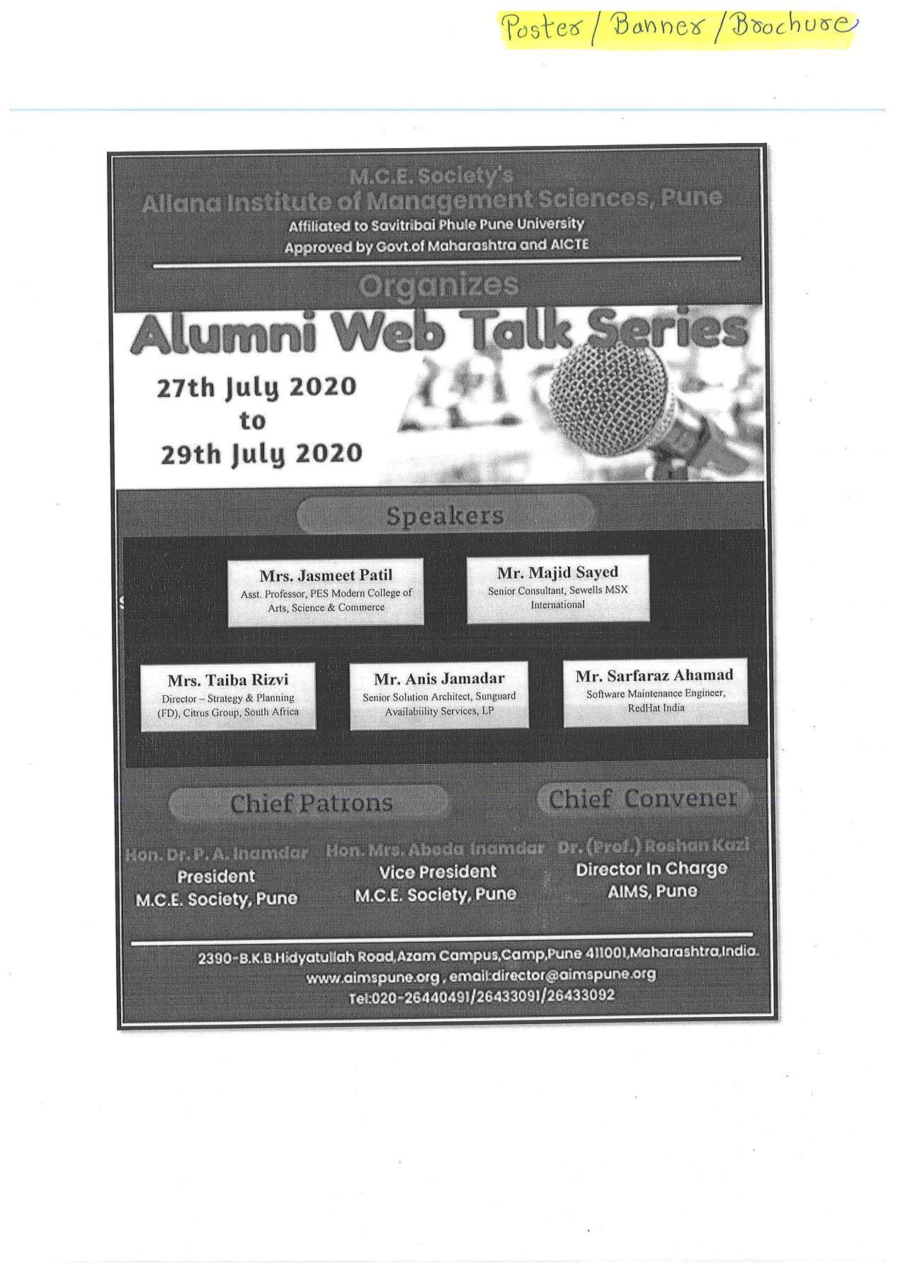AIMS Alumni Talk Series 2020